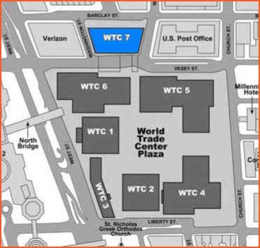 WTC 7 - Notera närheten till WTC1.