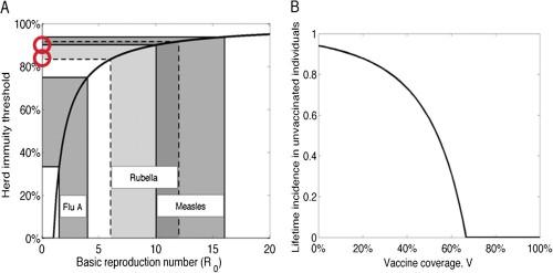 Tröskelvärde för flockimmunitet. Långt över 80% för Röda Hund och mässling (röda cirklar).
